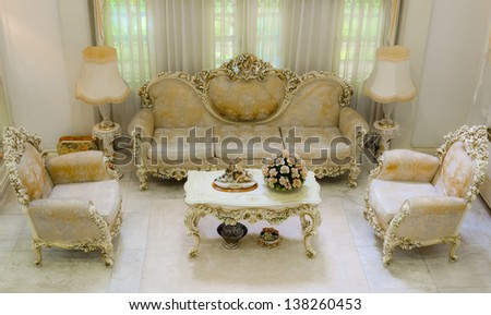 Upper angle of a living room with a luxurious and classical style   - stock photo