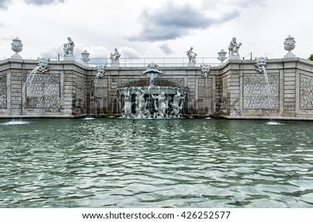 Upper Belvedere Beautiful fountains in complex Belvedere.Vienna. Austria. - stock photo