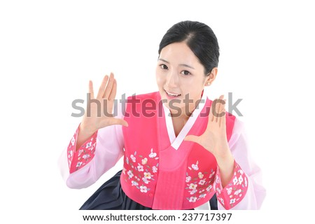 Upper body of a woman smiling brightly isolated on white background  - stock photo