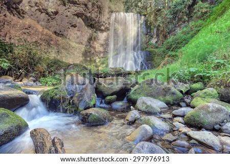 Upper Bridal Veil Falls in Columbia River Gorge National Scenic Area Oregon - stock photo