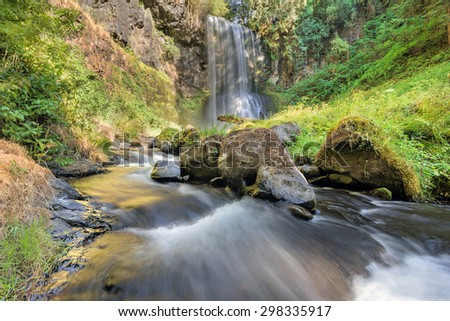 Upper Bridal Veil Falls in Columbia River Gorge National Scenic Area Oregon during Summer Afternoon - stock photo