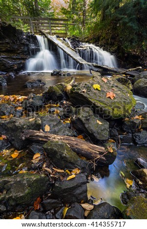 Upper Chapel Falls - Pictured Rocks National Lakeshore - stock photo
