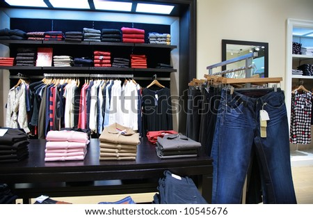 upper clothes in shop 2 - stock photo