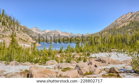 Upper Cramer Lake, Sawtooth National Recreation Area, near Stanley, Idaho - stock photo
