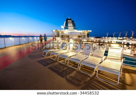 Upper deck of a cruise ship in Alaska - stock photo