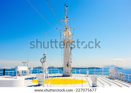 Upper deck vessel in the Gulf of Naples, Italy - stock photo