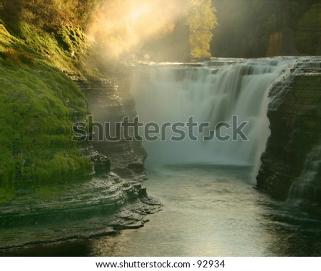 Upper Falls at Letchworth State Park - stock photo