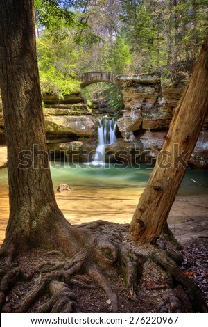 Upper Falls at Old Man's Cave in Hocking Hills Ohio. This is a very popular tourist attraction in Ohio. - stock photo