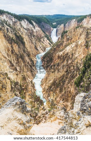 upper falls on the sunny day in yellow stone Yellowstone National park,Wyoming.usa. - stock photo