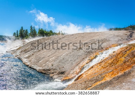 Upper geyser basin, Yellowstone National Park, Wyoming, USA - stock photo