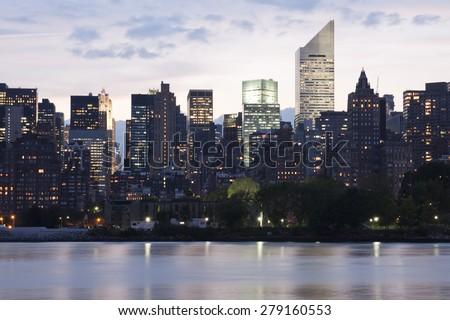 Upper Manhattan Panorama at dusk - stock photo