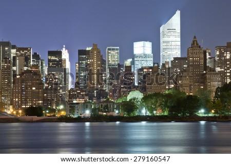 Upper Manhattan Panorama at night - stock photo