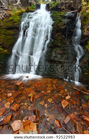 Upper Memorial Falls in the Lewis and Clark National Forest of Montana - stock photo