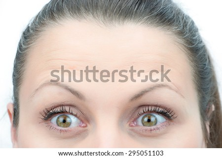 Upper part of females face closeup on eyes looking amazed - stock photo