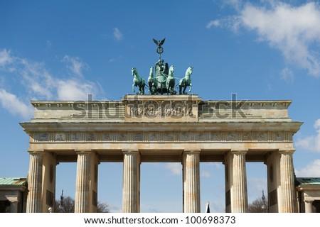 Upper part of the Brandenburg Gate and quadriga - stock photo