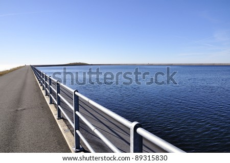 upper reservoir of Pumped-storage hydroelectricity - stock photo