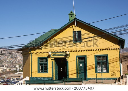 Upper station of Ascensor Baron. Historic funicular, built around 1906, in the world heritage coastal city of Valparaiso in Chile. - stock photo