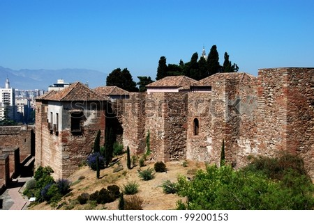 Upper walled precinct of the citadel viewed from the South, Alcazaba de Malaga, Malaga, Costa del Sol, Malaga Province, Andalusia, Spain, Western Europe. - stock photo