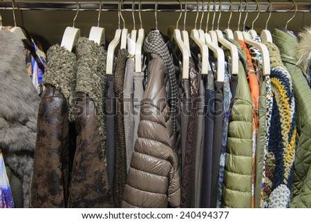 upper women's clothing in a store - stock photo