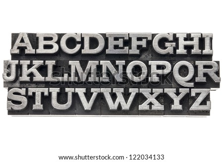 uppercase English alphabet  in vintage metal letterpress type, isolated on white - stock photo