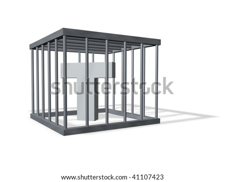 uppercase letter T in a cage on white background - 3d illustration - stock photo