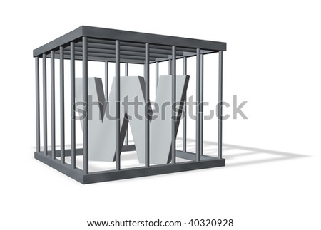 uppercase letter W in a cage on white background - 3d illustration - stock photo