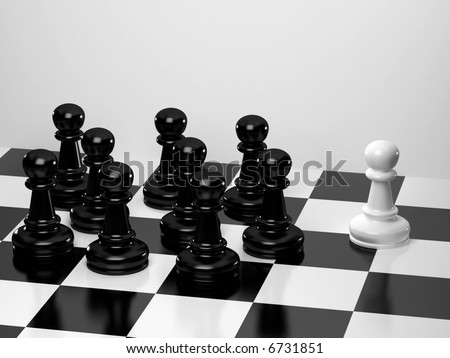 Upright black chess - stock photo