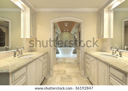 Upscale master bath in new construction home - stock photo