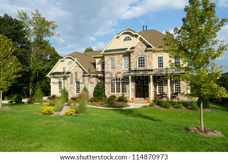 Upscale suburban house - stock photo