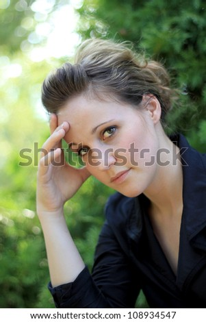 Upset and Concerned Attractive Business Woman - stock photo