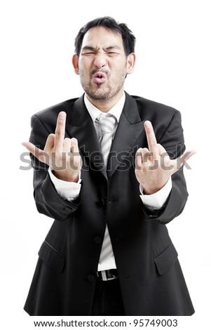 Upset businessman giving middle finger - stock photo