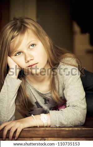 Upset girl - stock photo