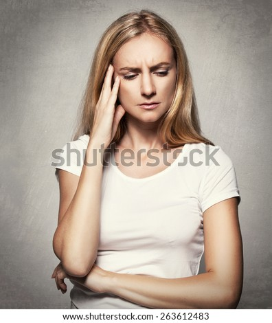 Upset woman. Sad female. Headache. Problems - stock photo