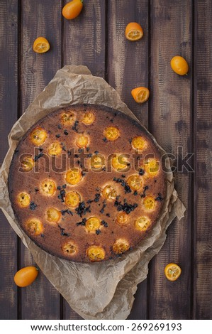 Upside down kumquat cake - stock photo