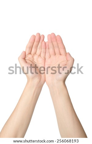 upside view of cupped hands , isolated on a white - stock photo