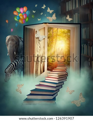 Upstairs to the magic book land - stock photo
