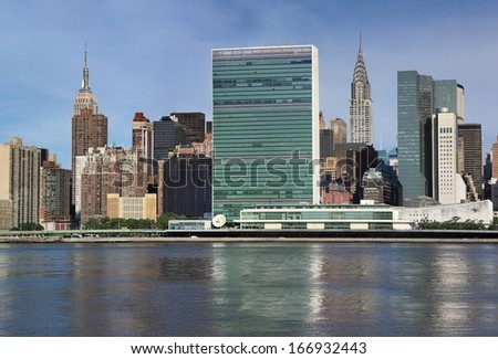 uptown new york city united nations complex  - stock photo
