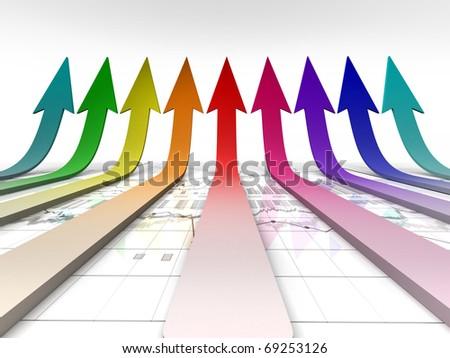upward arrow upon a bull market or good achievement chart background - stock photo