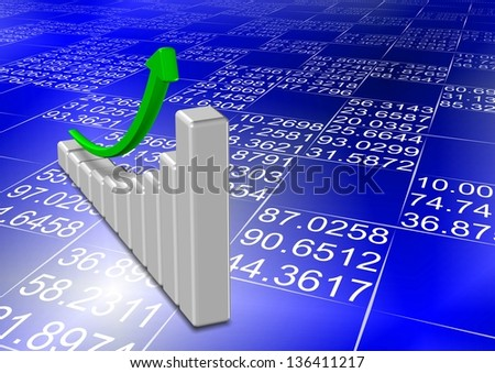 Upward chart and green arrow with numbers in the background / Blue print chart - stock photo