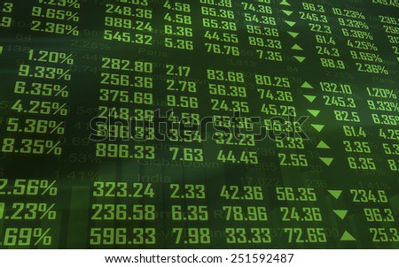 Upward green investment chart with financial data - stock photo