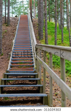 Upward stairway with railing in coniferous wood, part of hiking trail - stock photo