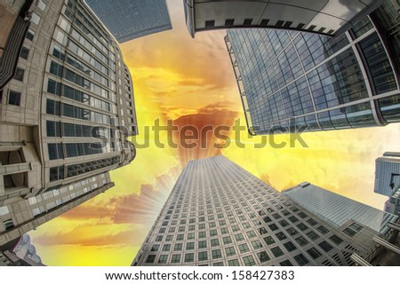 Upward view of Office Buildings. - stock photo