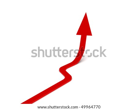 Upwards arrow. Red arrow isolated on white background. High quality 3d render. - stock photo