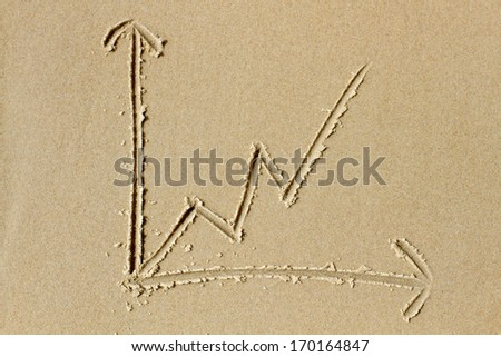 Upwards trending line chart drawn in the wet sand of a sunlit beach. Ideal as illustration of concepts related to growth, success and  professional business services. - stock photo