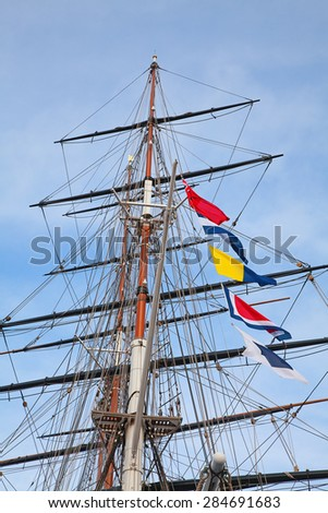 Upwards view of the old ship's masts - stock photo