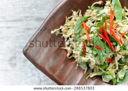 Urap, an Indonesian-style salad, served with herbs and red chillies. - stock photo