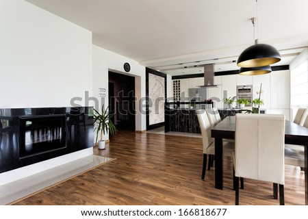 Urban apartment - contemporary interior in black and white - stock photo