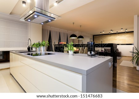 Urban apartment - White furniture in a modern kitchen - stock photo