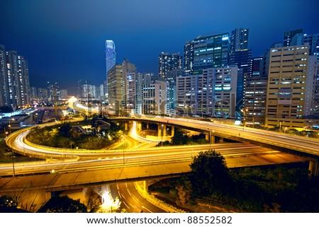 urban area dusk, hong kong - stock photo