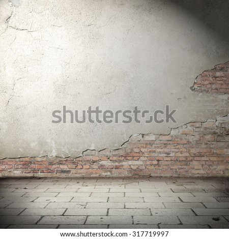 urban background with shadow vignette, plastered brick wall texture and concrete tiled floor pavement as abandoned exterior grunge background for your concept or project - stock photo